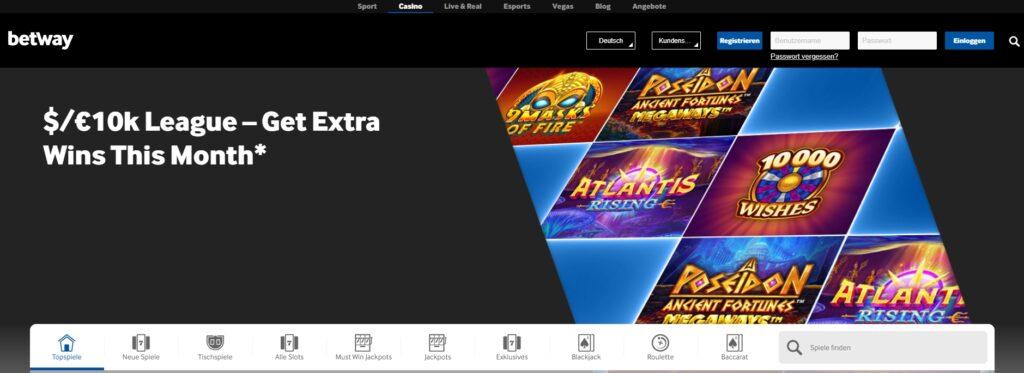 Betway Casino Banner auf der Startseite